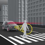 Kokkupõrke ennetussüsteem koos jalakäijate ja jalgratturite tuvastamise funktsiooniga