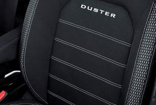 Musta värvi, valgete õmblustega, DUSTER signatuuriga tekstiilist istmekatted