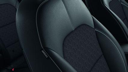 Tekstiliniai sėdynių apmušalai su ekologiškos odos intarpais